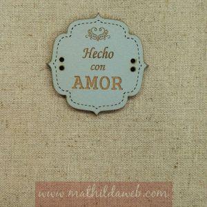MATHILDA® ARTE004-AZ etiqueta hecho con amor azul