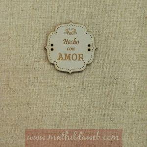 MATHILDA® ARTE004-LIN etiqueta hecho con amor tono lino